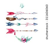 vector watercolor arrow set ... | Shutterstock .eps vector #311606060