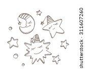 cartoon sun  moon  crescent ... | Shutterstock .eps vector #311607260