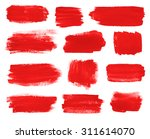 hand drawn watercolor red brush ... | Shutterstock . vector #311614070