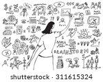 business woman doodles... | Shutterstock .eps vector #311615324