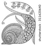 Hand Drawn Contented Snail And...