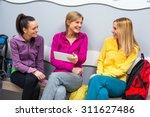 young women in locker room... | Shutterstock . vector #311627486