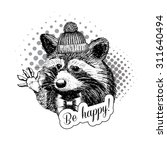 vector raccoon. white and black.... | Shutterstock .eps vector #311640494