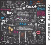������, ������: Music items doodle icons