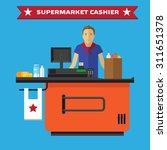 supermarket store counter desk...   Shutterstock .eps vector #311651378