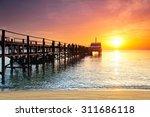 boat silhouette at sunlight in... | Shutterstock . vector #311686118