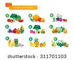 fruit. vitamin rich foods chart    Shutterstock .eps vector #311701103