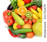 fruits and vegetables isolated... | Shutterstock . vector #311721479