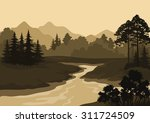 night landscape  mountains ... | Shutterstock .eps vector #311724509
