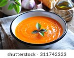 vegetarian pumpkin soup with... | Shutterstock . vector #311742323