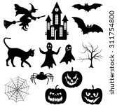 set of halloween silhouette on... | Shutterstock .eps vector #311754800
