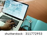 top view of medicine doctor... | Shutterstock . vector #311772953