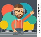 a caucasian disc jockey with... | Shutterstock .eps vector #311777390