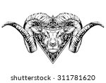 black and white tattoo of a ram ...
