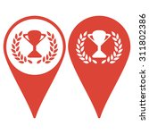 map pointer. trophy and awards...