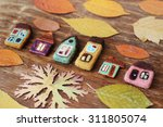 Toy Houses And Dry Leaves