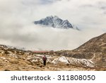 hiker on a way to a mountain... | Shutterstock . vector #311808050