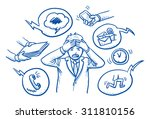 business man holding his head... | Shutterstock .eps vector #311810156