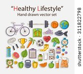 healthy lifestyle sticker hand... | Shutterstock . vector #311822798