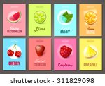 set of brochures with fruits...