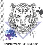 tiger vector ethnic patterns... | Shutterstock .eps vector #311830604
