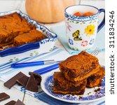 Pumpkin Brownies.selective Focus