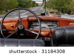 Wheel And Dashboard Of A Old Car