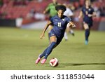 Small photo of COLLEGE PARK, MD - AUGUST 28: West Virginia Amandine Pierre-Louise (11) works the ball upfield during the NCAA women's soccer game August 28, 2015 in College Park, MD.
