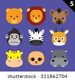 Flat Animal Faces Icon Cartoon...