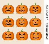 pumpkins set for halloween | Shutterstock .eps vector #311907449