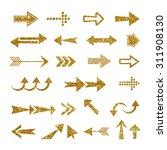 arrow set made of gold glitter... | Shutterstock .eps vector #311908130