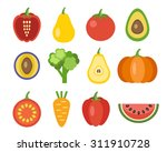 vegetables and fruits icons.... | Shutterstock .eps vector #311910728