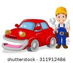 Mechanic Cartoon With Car For...