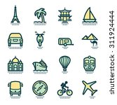 travel icons with pattern. | Shutterstock .eps vector #311924444
