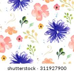 hand drawn watercolor seamless... | Shutterstock . vector #311927900