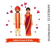 indian wedding  bride and groom ... | Shutterstock .eps vector #311928644