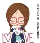 cute girl t shirt graphics... | Shutterstock .eps vector #311940110