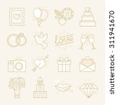 vector set of linear icons and... | Shutterstock .eps vector #311941670