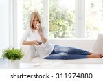 portrait of sad woman with... | Shutterstock . vector #311974880