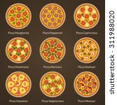 different type of pizza flat... | Shutterstock .eps vector #311988020