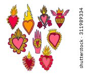 vector set with catholic hearts ... | Shutterstock .eps vector #311989334