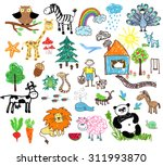 childrens drawings of people... | Shutterstock .eps vector #311993870