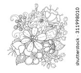 doodle art flowers. zentangle... | Shutterstock .eps vector #311998010