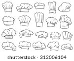 large set of chefs toques  caps ... | Shutterstock .eps vector #312006104