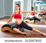 pregnant woman pilates side... | Shutterstock . vector #312007820