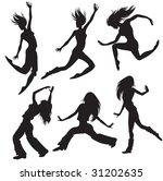 raster modern dancers silhouette | Shutterstock . vector #31202635