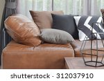 light brown leather sofa bed... | Shutterstock . vector #312037910