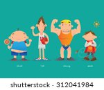 short and tall  strong and weak | Shutterstock .eps vector #312041984