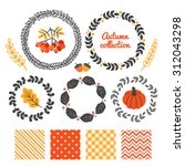 set of autumn floral wreaths... | Shutterstock .eps vector #312043298