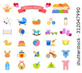 baby flat icons set vector... | Shutterstock .eps vector #312047990
